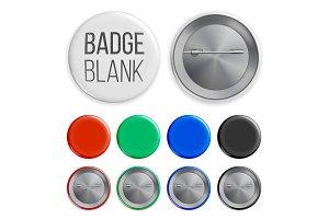 Blank Badges Set Vector. Realistic