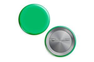Blank Green Badge Vector. Realistic