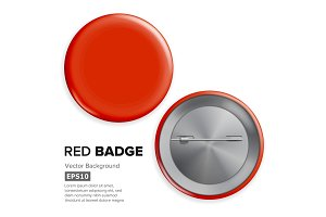 Blank Red Badge Vector. Realistic