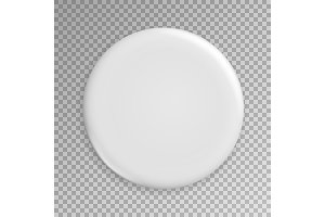 Blank White Badge Vector. Realistic
