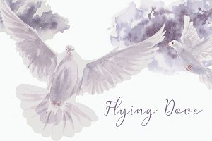 Flying Dove - Watercolor Clip Art