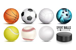 Sport Ball Set Vector. 3D Realistic