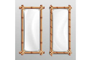 Bamboo Frame Realistic. Vector