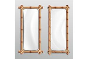 Bamboo Frame Realistic. Vector