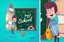 Set of cute School Children. Vector