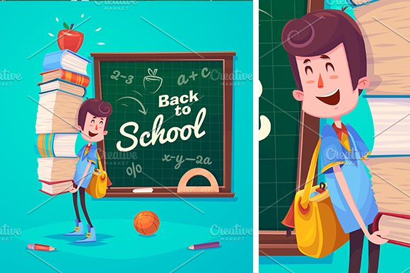 Set of cute School Children. Vector - Illustrations