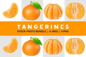 Isolated set of cut tangerines