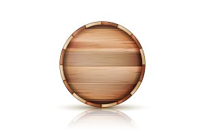 Barrel Wooden Sign Vector. 3d Icon