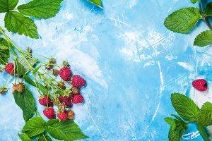 Fresh raspberry border with leaves o