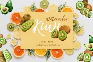 Kiwi Green fresh watercolor png