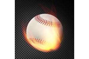 Flaming Realistic Baseball Ball On