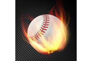Baseball On Fire. Burning Style