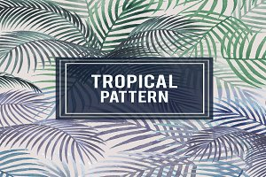 Tropical pattern palm leaves vector