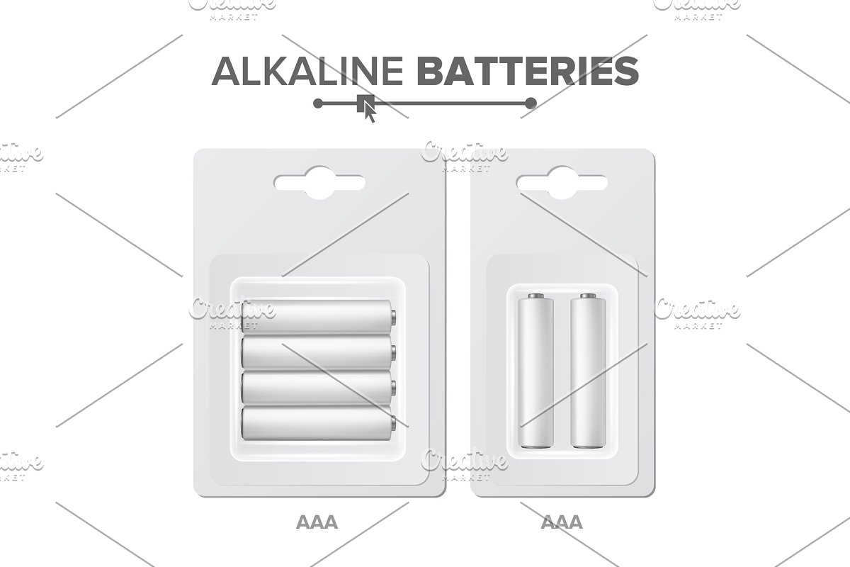 save  aaa batteries packed vector