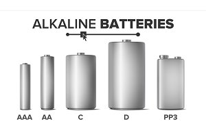 Alkaline Batteries Mock Up Set