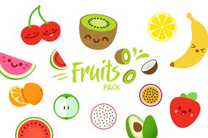 Fresh Fruits vector objects