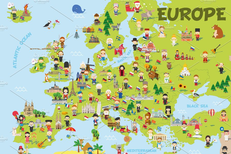 Cartoon map of Europe ~ Illustrations ~ Creative Market on not to scale map, sci fi map, road map, political map, childrens map, countries flags map, simple map, french map, office map, car and map, cute map, tube map, game map, classroom map, me on the map, watercolor map, student with map, vintage map,