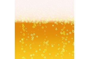 Beer Foam Background. Realistic Beer