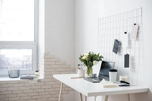 Stylish white home office