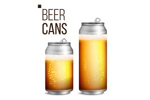 Beer Cans Vector. 500 and 330 ml Can