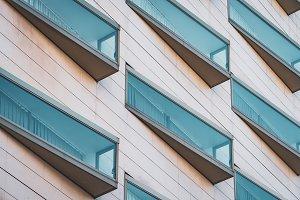 Modern windows of a hotel building