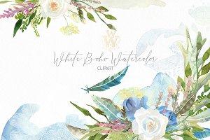 White Boho watercolor clipart