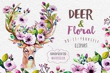 Deer, skull & floral