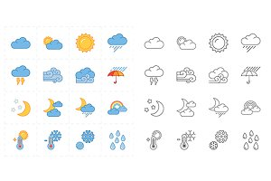 16 flat modern weather icons