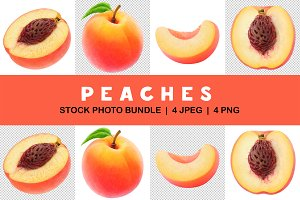 Collection of isolated peaches