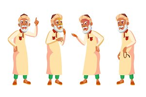 Arab, Muslim Old Man Poses Set