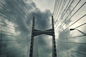 Dames Point Bridge on a stormy day