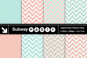 Pastel Mint & Coral Chevron Papers