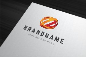 Abstract 3d sphere shape logo