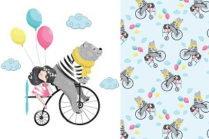 Cute bear and girl art. Bear pattern
