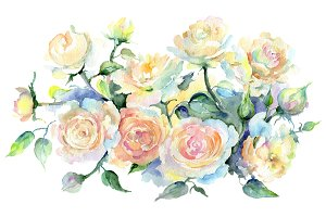 Bouquet or yellow roses Watercolor