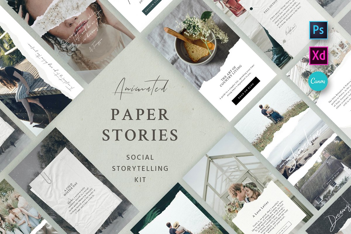 Paper Animated Stories - Social kit ~ Instagram Templates