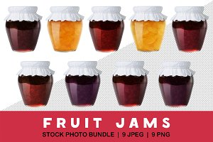 Collection of fruit jams isolated