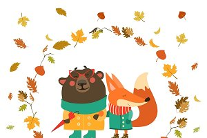 Cute fox and bear walking in wreath
