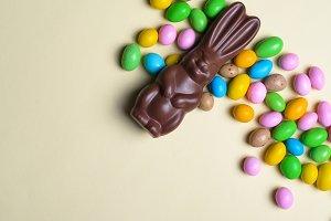 Easter Bunny and Chocolate Eggs on B
