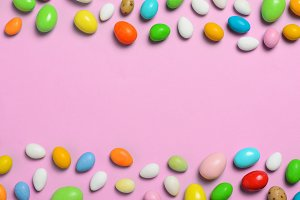 Chocolate Eggs on Bright Background,