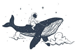 Astronaut and whale in the clouds
