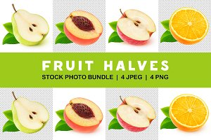 Collection of isolated fruit halves