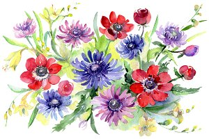 Bouquet of wild flowers Watercolor