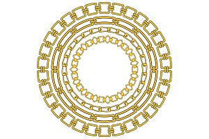 round frame of figured gold chains