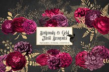 Burgundy and Gold Floral Bouquets