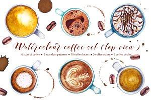 Watercolour coffee set (top view)