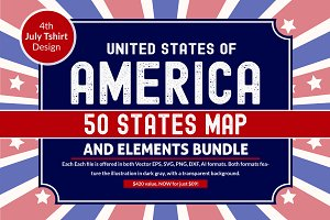US States - 4th July design Element