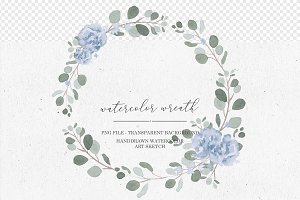 Watercolor Blue Roses Wreath