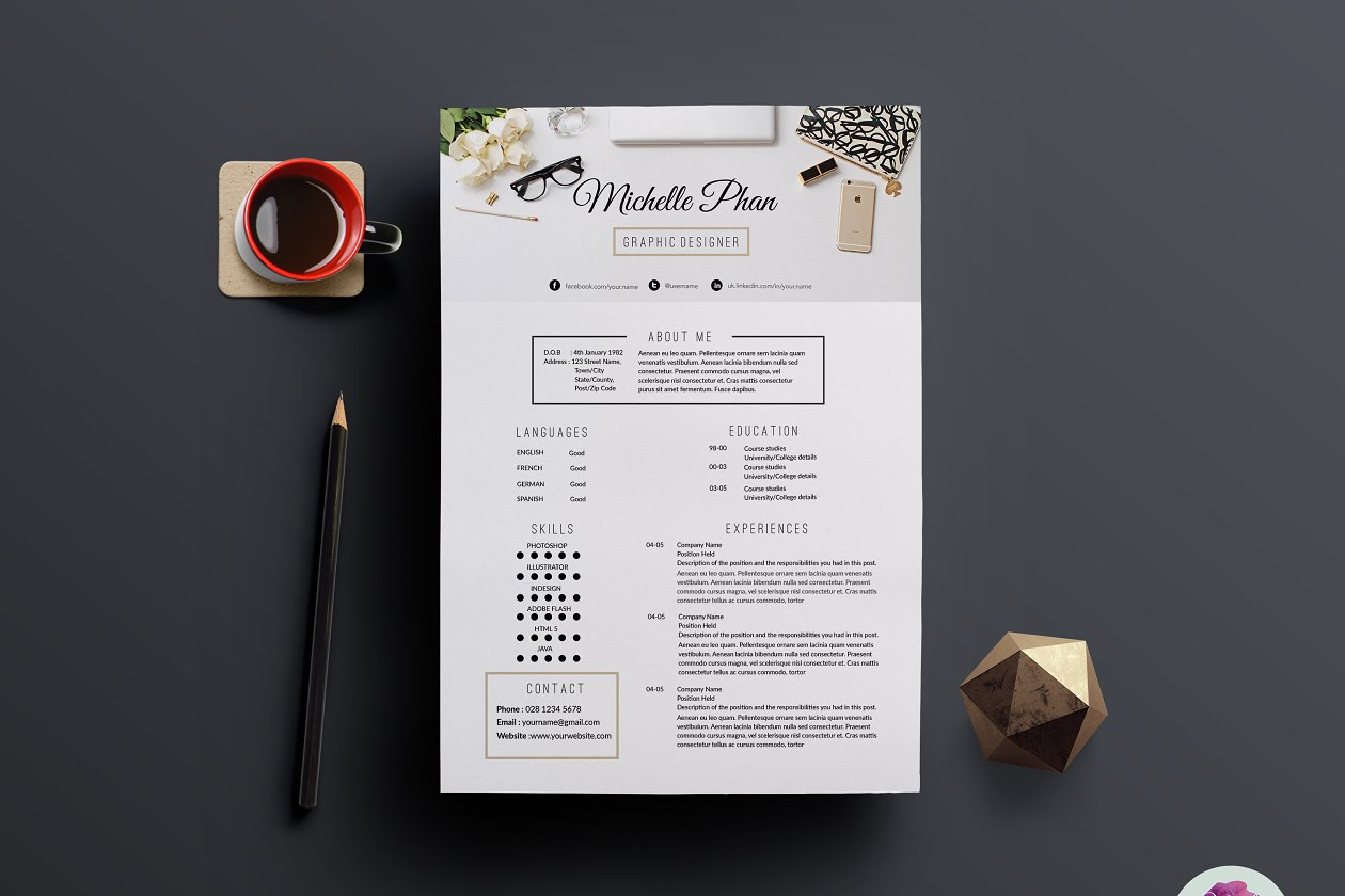 Modern , chic CV template - Resume Templates | Creative Market Pro