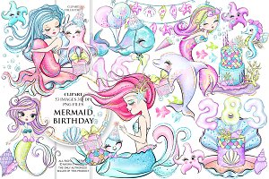 MERMAID BIRTHDAY Clipart